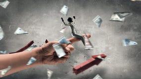 Палец катания женщины героя Мультимедиа стоковое изображение rf