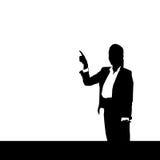 Палец пункта силуэта бизнес-леди черный для того чтобы скопировать космос над белой предпосылкой иллюстрация вектора