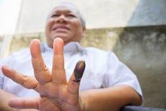 Палец чернил маркированный Стоковые Изображения