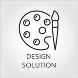 Палитра значка для красок при щетка нарисованная в стиле плана бесплатная иллюстрация