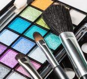 Палитры eyeshadow состава цветастые с составом чистят Стоковая Фотография