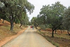 2 паломника в через de Ла Plata, El Berrocal в Almaden de Ла Plata, провинции Севильи, Андалусии, Испании Стоковое Изображение