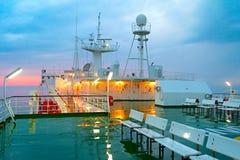 Палуба корабля в дожде Стоковая Фотография
