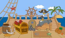 Палуба пиратского корабля иллюстрация вектора
