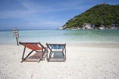 палуба стулов пляжа Стоковые Изображения