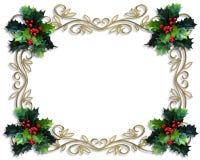 падуб золота рамки рождества граници Стоковое Изображение RF