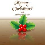 Падуб предпосылки с Рождеством Христовым рождественской открытки Стоковые Изображения