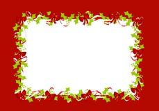 падуб рамки граници покидает красные тесемки Стоковые Изображения