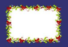 падуб рамки 2 границ покидает красные тесемки Стоковое Изображение