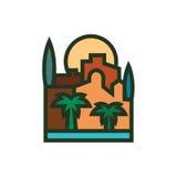 Пальмы здания города захода солнца и минимализм моря Стоковое Изображение RF