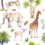 Пальмы и животные саванны - жираф, слон, гепард, антилопа Картина зоопарка безшовная акварель Стоковые Изображения RF