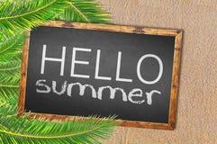 Пальмы и здравствуйте! лето написанное на классн классном Стоковые Фотографии RF