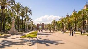 Пальмы на бульваре в Барселоне Стоковое Изображение RF
