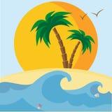 Пальмы, пляж, seashells, заход солнца и волны бесплатная иллюстрация