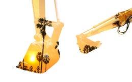 Пальмы backhoe и сахара двойной экспозиции Стоковые Фотографии RF
