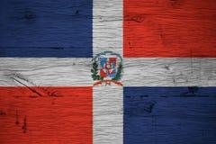 Пальто национального флага Доминиканской Республики подготовляет покрашенную старую древесину дуба Стоковое Изображение RF