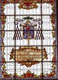 Пальто цветного стекла подготовляет базилику Санту Iglesia Collegiata Мадрид Испанию Стоковое фото RF