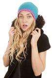 Пальто шлема женщины серьезное стоковые фотографии rf