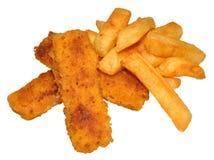 Пальцы и обломоки рыб стоковое изображение