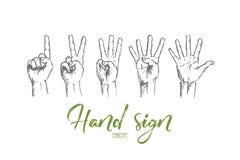 Пальцы нарисованные рукой человеческие показывая номера Стоковое Изображение RF
