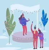 певица выполняет на этапе в парке зимы также вектор иллюстрации притяжки corel иллюстрация штока