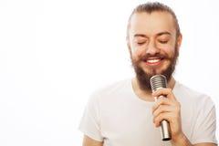 певица в реальном маштабе времени ража нот микрофона человека принципиальной схемы Стоковая Фотография RF