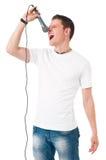 певица в реальном маштабе времени ража нот микрофона человека принципиальной схемы Стоковое фото RF