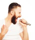 певица в реальном маштабе времени ража нот микрофона человека принципиальной схемы Стоковое Фото