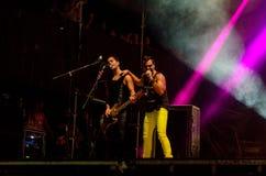 Певица и бас-гитарист совместно Стоковая Фотография