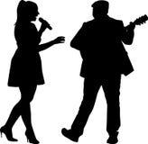 Певица и гитарист Бесплатная Иллюстрация