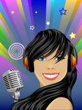 певица красотки Стоковое Изображение RF