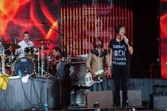Певица Натали Imbruglia Музыкальный фестиваль Kryliya на стадионе Tyshino 22-ое июля 2007 в Москве, России Стоковое Фото