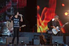 Певица Натали Imbruglia Музыкальный фестиваль Kryliya на стадионе Tyshino 22-ое июля 2007 в Москве, России Стоковое Изображение RF