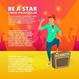 Певица шаржа молодая на этапе Подростковый вокалист поет Vector иллюстрация молодого человека давая концерт Стоковые Фото