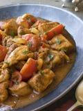 певтер тарелки цыпленка bhoona стоковое фото rf