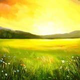 Пейзажная живопись захода солнца осени иллюстрация вектора
