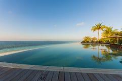 Пейзажный бассейн с видами на море и пальмами Стоковые Изображения RF