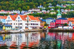 Пейзаж Бергена, Норвегии стоковое изображение rf