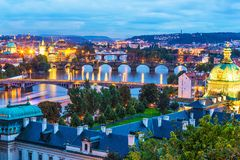 Пейзаж вечера Праги, чехии Стоковые Фотографии RF