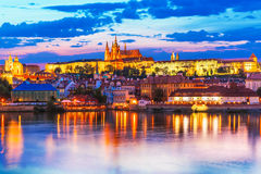 Пейзаж вечера Праги, чехии Стоковая Фотография
