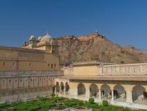 Пейзаж внутри янтарного форта в Джайпуре, Индии Стоковое Изображение RF