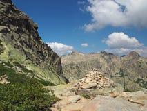 Пейзаж высокого mountainn выступает в corsician alpes с зеленым бушелем Стоковая Фотография RF
