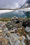Пейзаж высокой горы с озером и снежком Стоковое фото RF