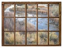 Пейзаж в заболоченных местах - взгляд падения окна стоковая фотография