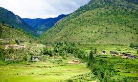 Пейзаж горы в Тхимпху, Бутане Стоковое фото RF