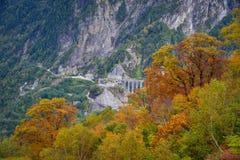 Пейзаж горы на осени в Японии Стоковая Фотография RF