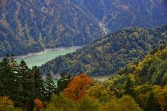Пейзаж горы на осени в Японии Стоковая Фотография