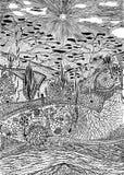 пейзаж графиков искусства сказовый Стоковая Фотография