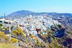 Пейзаж Греция острова Fira Santorini уникально Стоковые Изображения