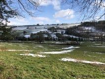Пейзаж Девона после снега Стоковое Фото